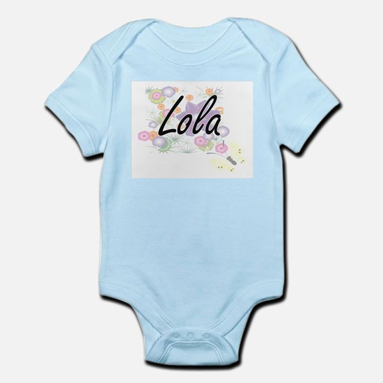 Lola Artistic Name Design with Flowers Body Suit