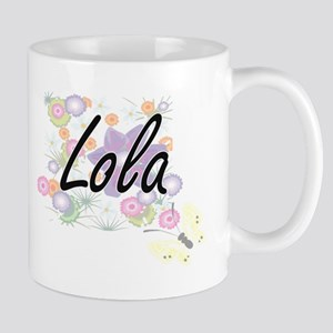 Lola Artistic Name Design with Flowers Mugs