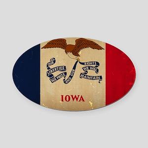 Iowa State Flag VINTAGE Oval Car Magnet