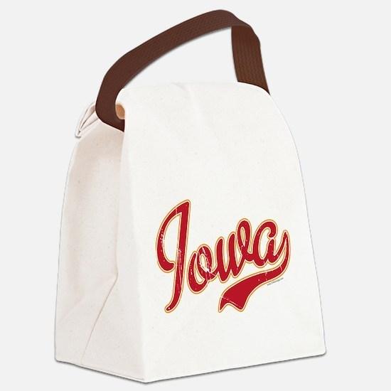 Iowa Script Crimson VINTAGE Canvas Lunch Bag