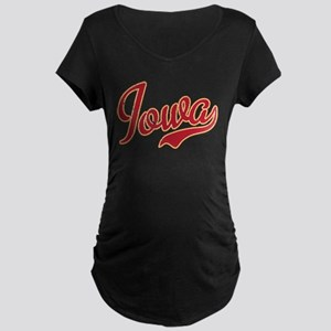 Iowa Script Crimson VINTAGE Maternity Dark T-Shirt