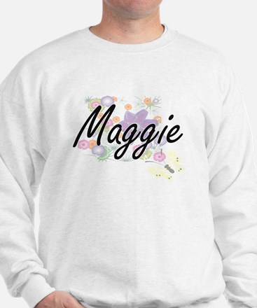 Maggie Artistic Name Design with Flower Sweater