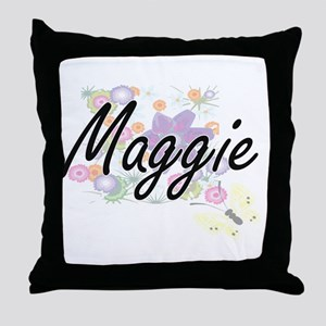 Maggie Artistic Name Design with Flow Throw Pillow