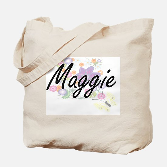 Maggie Artistic Name Design with Flowers Tote Bag