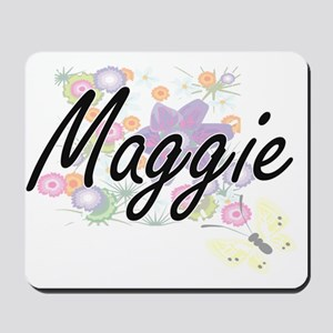 Maggie Artistic Name Design with Flowers Mousepad