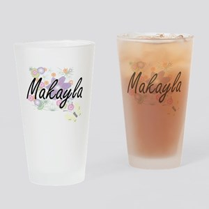 Makayla Artistic Name Design with F Drinking Glass