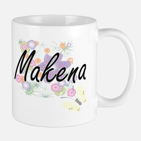 Makena Artistic Name Design with Flowers Mugs
