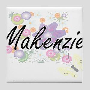 Makenzie Artistic Name Design with Fl Tile Coaster
