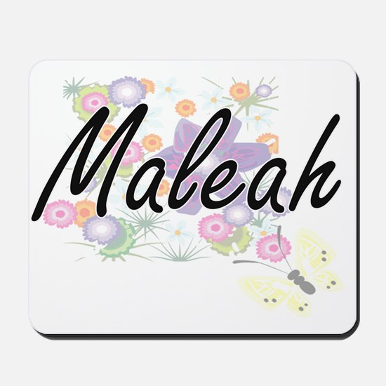 Maleah Artistic Name Design with Flowers Mousepad
