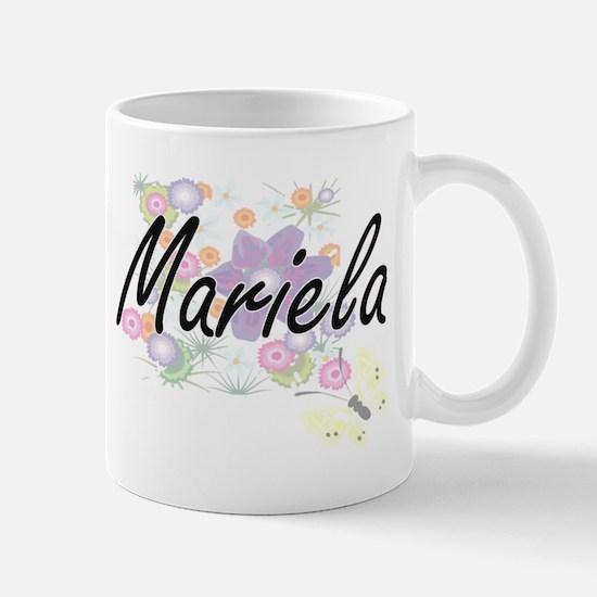 Mariela Artistic Name Design with Flowers Mugs