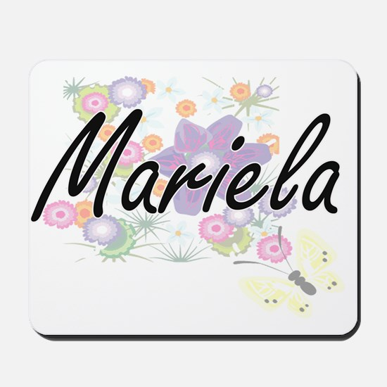 Mariela Artistic Name Design with Flower Mousepad