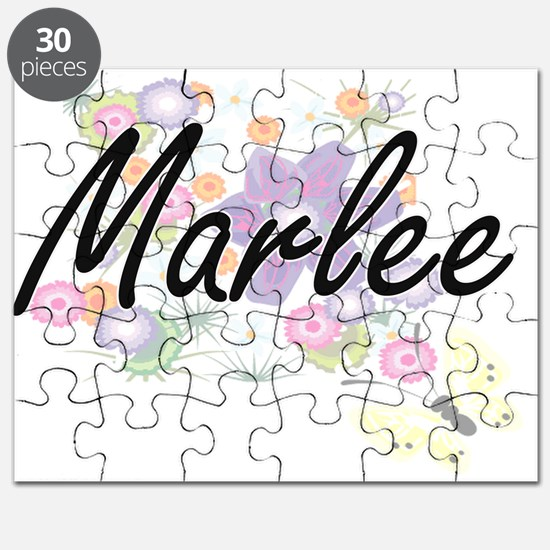 Marlee Artistic Name Design with Flowers Puzzle