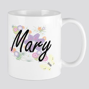 Mary Artistic Name Design with Flowers Mugs