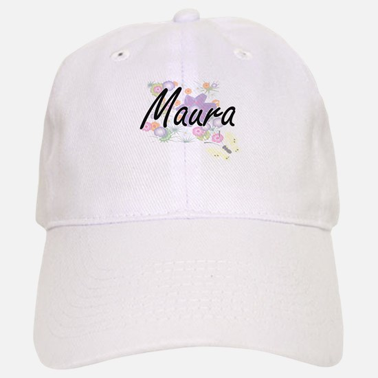 Maura Artistic Name Design with Flowers Baseball Baseball Cap