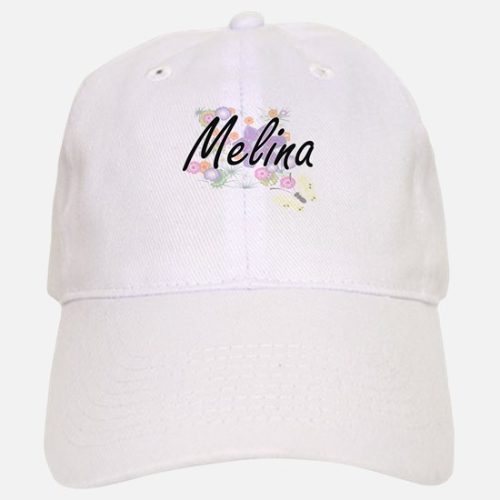 Melina Artistic Name Design with Flowers Baseball Baseball Cap