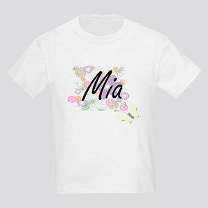 Mia Artistic Name Design with Flowers T-Shirt