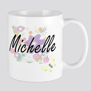 Michelle Artistic Name Design with Flowers Mugs