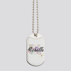 Michelle Artistic Name Design with Flower Dog Tags