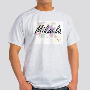 Mikaela Artistic Name Design with Flowers T-Shirt