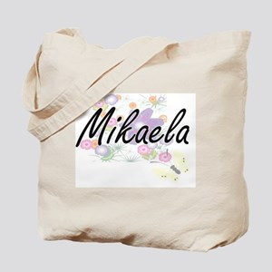 Mikaela Artistic Name Design with Flowers Tote Bag