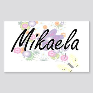 Mikaela Artistic Name Design with Flowers Sticker