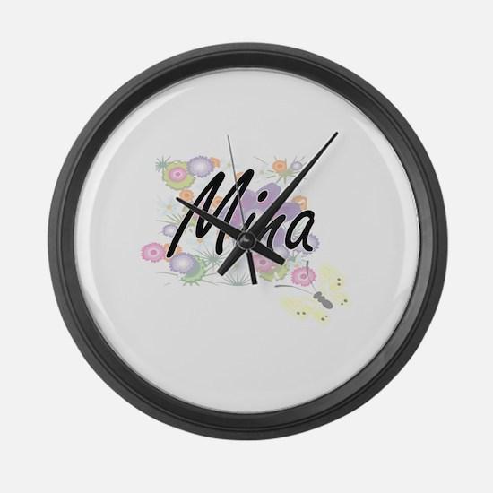 Mina Artistic Name Design with Fl Large Wall Clock