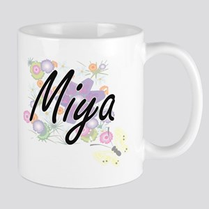 Miya Artistic Name Design with Flowers Mugs