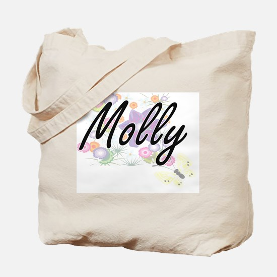 Molly Artistic Name Design with Flowers Tote Bag