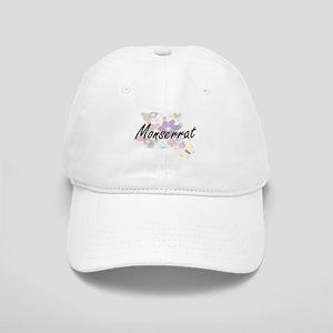 Monserrat Artistic Name Design with Flowers Cap