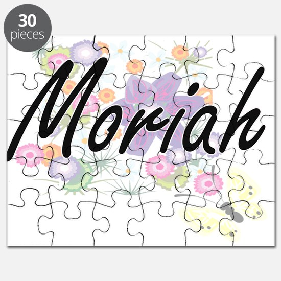 Moriah Artistic Name Design with Flowers Puzzle
