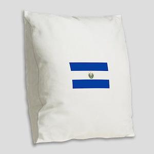 El Salvador Flag Burlap Throw Pillow