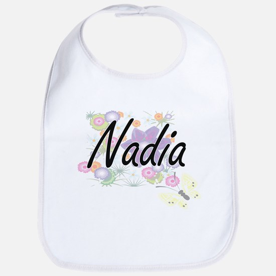 Nadia Artistic Name Design with Flowers Bib