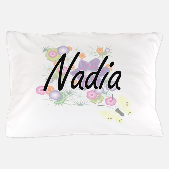 Nadia Artistic Name Design with Flower Pillow Case