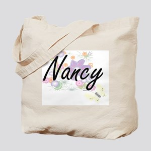 Nancy Artistic Name Design with Flowers Tote Bag