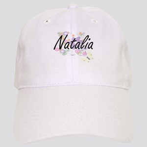 Natalia Artistic Name Design with Flowers Cap
