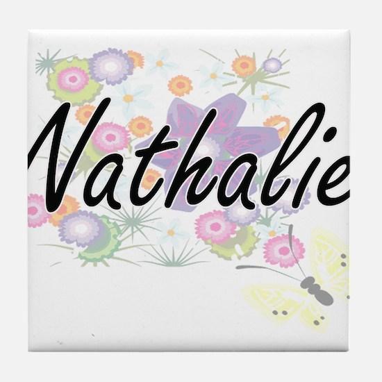 Nathalie Artistic Name Design with Fl Tile Coaster