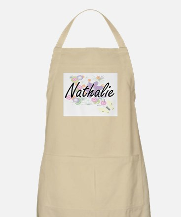 Nathalie Artistic Name Design with Flowers Apron