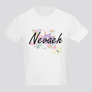 Nevaeh Artistic Name Design with Flowers T-Shirt