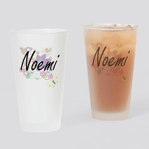 Noemi Artistic Name Design with Flo Drinking Glass