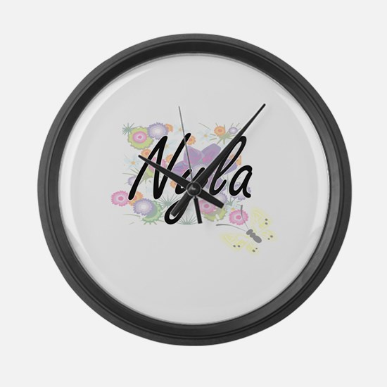Nyla Artistic Name Design with Fl Large Wall Clock