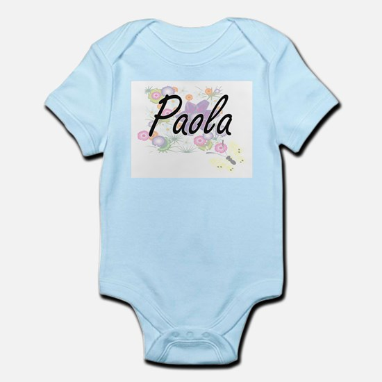 Paola Artistic Name Design with Flowers Body Suit