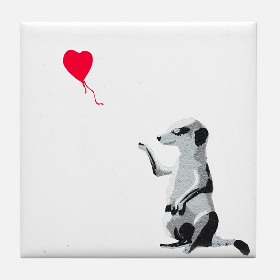 Meerkat with the heart-shaped balloon Tile Coaster