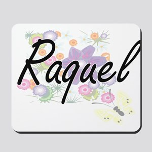Raquel Artistic Name Design with Flowers Mousepad