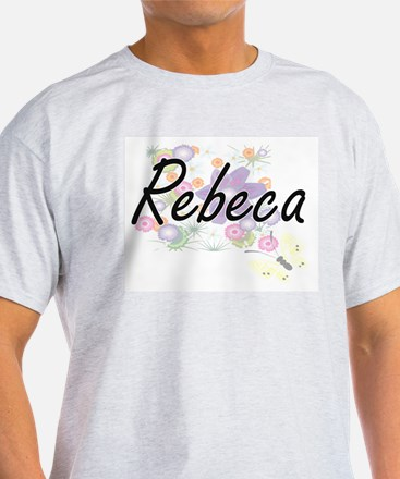 Rebeca Artistic Name Design with Flowers T-Shirt