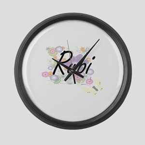 Rubi Artistic Name Design with Fl Large Wall Clock