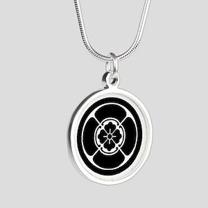 Square mokko in circle Silver Round Necklace