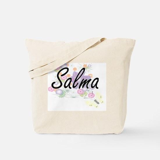 Salma Artistic Name Design with Flowers Tote Bag