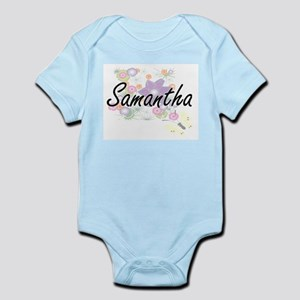 Samantha Artistic Name Design with Flowe Body Suit