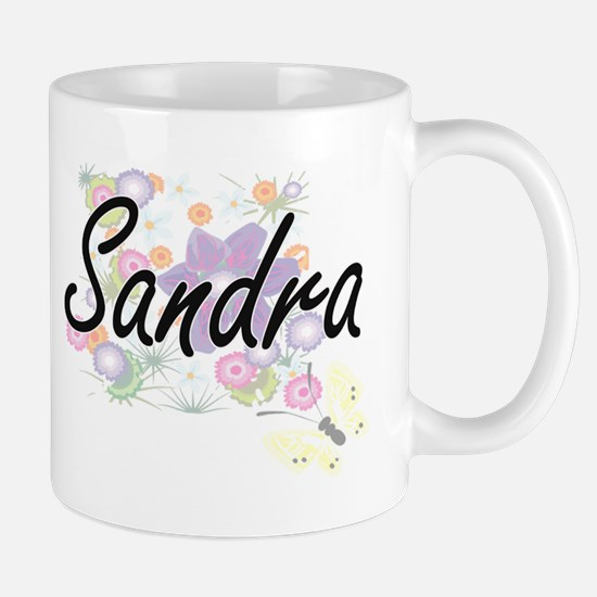 Sandra Artistic Name Design with Flowers Mugs