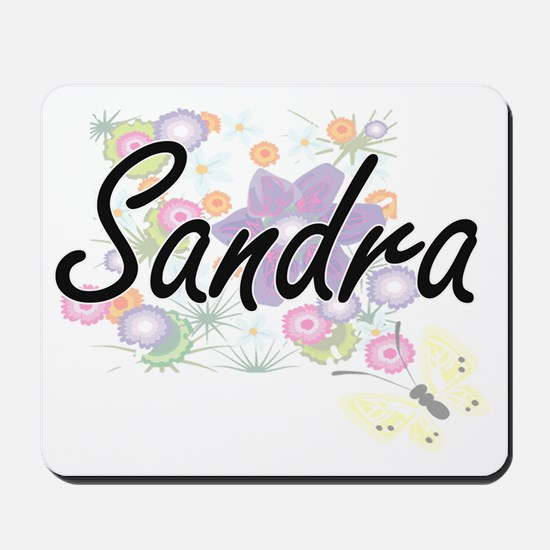 Sandra Artistic Name Design with Flowers Mousepad
